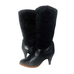 Vintage 80s Leather & Suede Kitten Heeled Boots Sherpa 7 Black